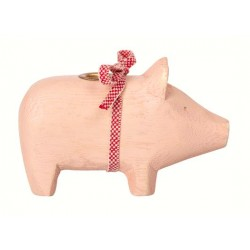 Maileg - Wooden pig, Powder - Small