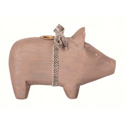 Maileg - Wooden pig, Grey - Small