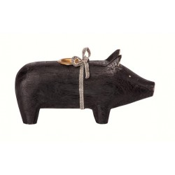 Maileg - Wooden pig, Black - Medium